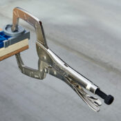 A piece of wood being vised together by an Eagle Grip Locking C Clamp