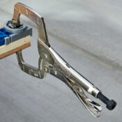 Wood being viced together with an Eagle Grip C clamp that has swivel pads